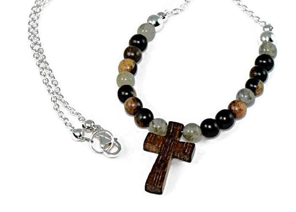 Wooden Cross Labradorite and Tiger Ebony Pendant Necklace - Lari's Jewelry Designs - 2