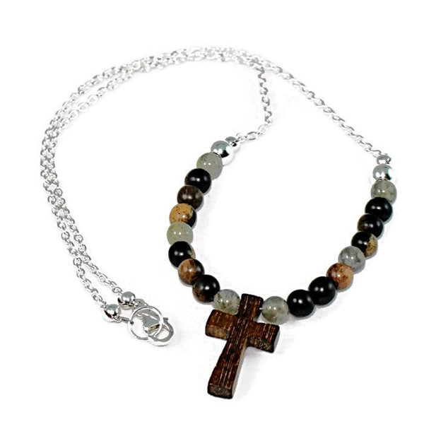 Wooden Cross Labradorite and Tiger Ebony Pendant Necklace - Lari's Jewelry Designs - 1