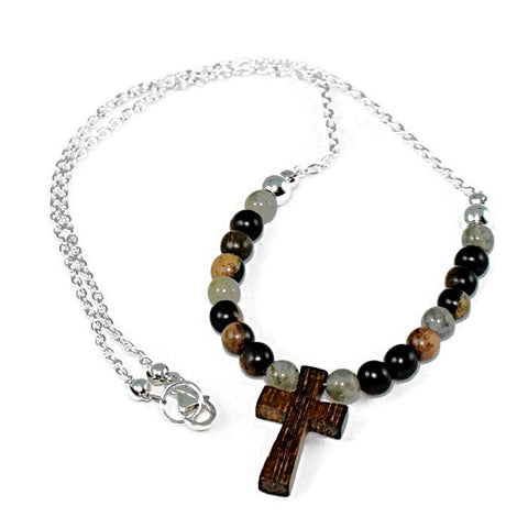 Wooden Cross Labradorite and Tiger Ebony Pendant Necklace