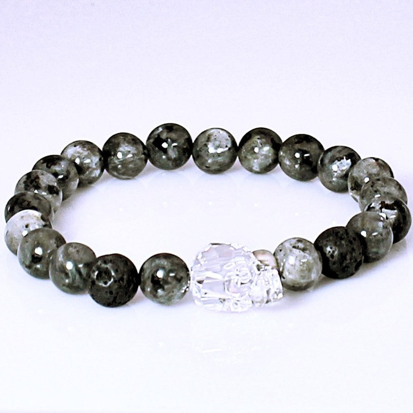 Mens Crystal Skull Mala Bracelet with Labradorite Gemstones