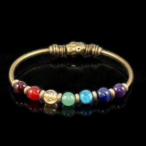 7 Chakra Genuine Stone Stretch Bangle Bracelet with Buddha Bead