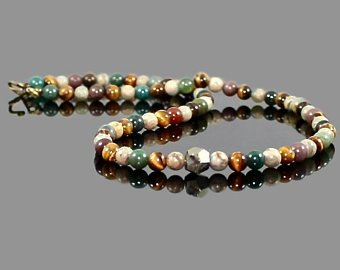Men's Natural Pyrite Nugget and Jasper Yoga Necklace