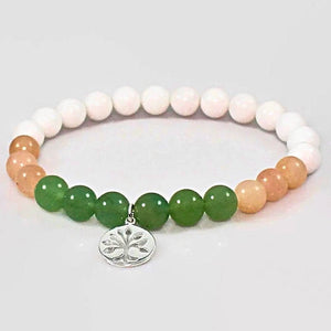 Gemstone and Silver Tree of Life Women's Bracelet