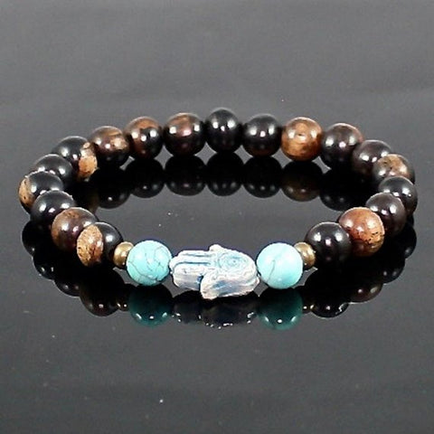 Hamsa Hand Tiger Ebony Stretch Bracelet