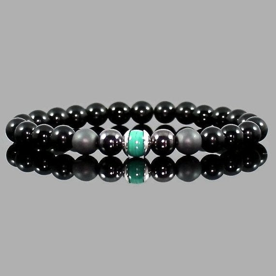 Men's Malachite and Black Obsidian Yoga Bracelet