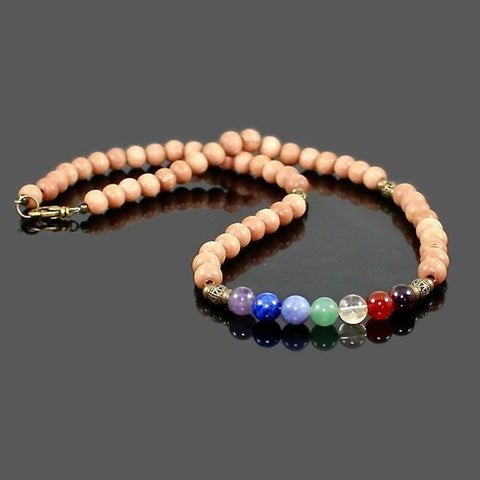 7 Chakra Gemstone Necklace with Light Rosewood Beads