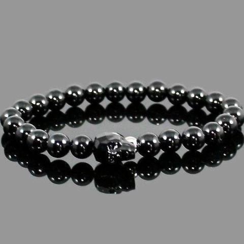 Men's Black Crystal Skull Bracelet