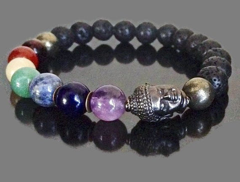 Men's 7 Chakra Bracelet with Lava Stone Essential Oils Diffuser, Meditation