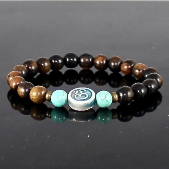 Ceramic Om Bead Tiger Ebony Stretch Bracelet