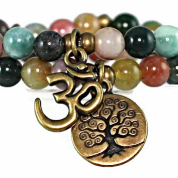 Women's Beaded Fancy Jasper Om and Tree of Life Wrap Bracelet