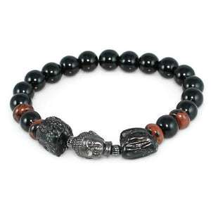 Men's Buddha Bracelet with Tektite, Obsidian and Mahogany Obsidian