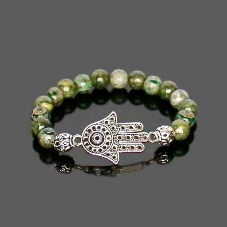 Hand of Fatima, Hamsa Hand Gemstone Bracelet for Men or Women