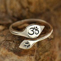 Sterling Silver Etched Lotus and Ohm Ring