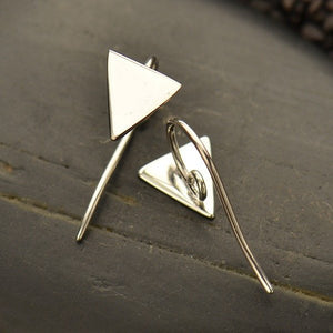 Triangle Hook Earrings in Sterling Silver