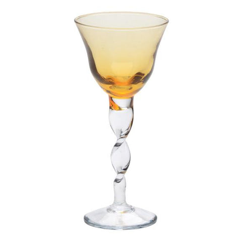wine glass with amber colored cup