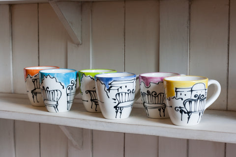 Modern and colorful ceramic mugs