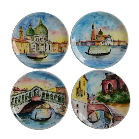 appetizer plates showing scenes of Venice