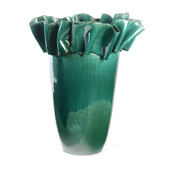 Artist Series Small Green Vase with Ribbon Collar