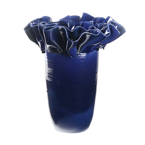 Artist Series Large Blue Vase with Ribbon Collar