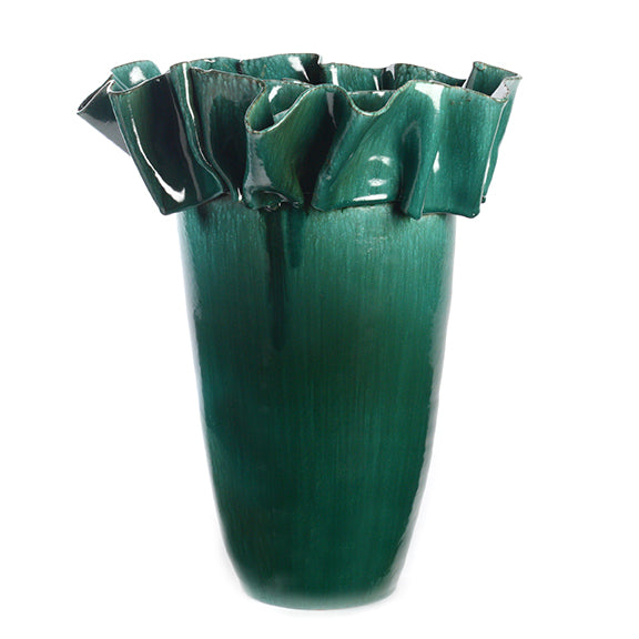 Artist Series Large Green Vase With Ribbon Collar