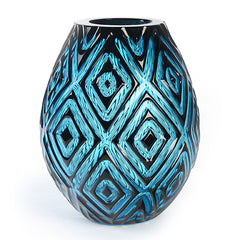 Artist Series Turquoise Glass Vase