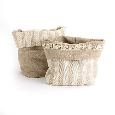 Biancheria Reversible Linen Bread Basket