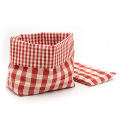 Biancheria Red and White Check Bread Basket