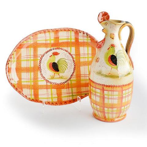Plaid Rooster Serving Set III Bundle