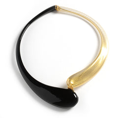 Collana with Two Drops in Black and Gold
