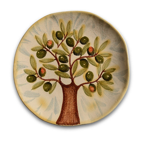 Extra Virgin Round Serving Platter with Olive Tree