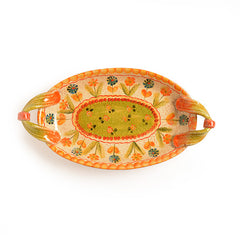 Festa Small Oval Tray with Green