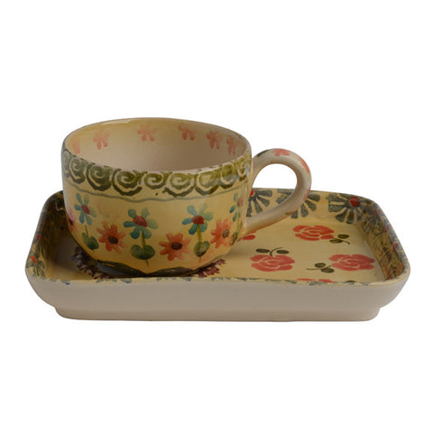 Festa Teacup and Rectangular Saucer
