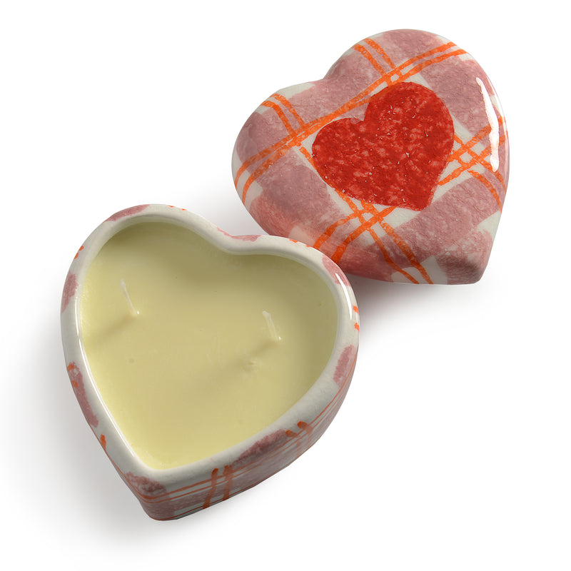 Amore Small Plaid Heart Candle