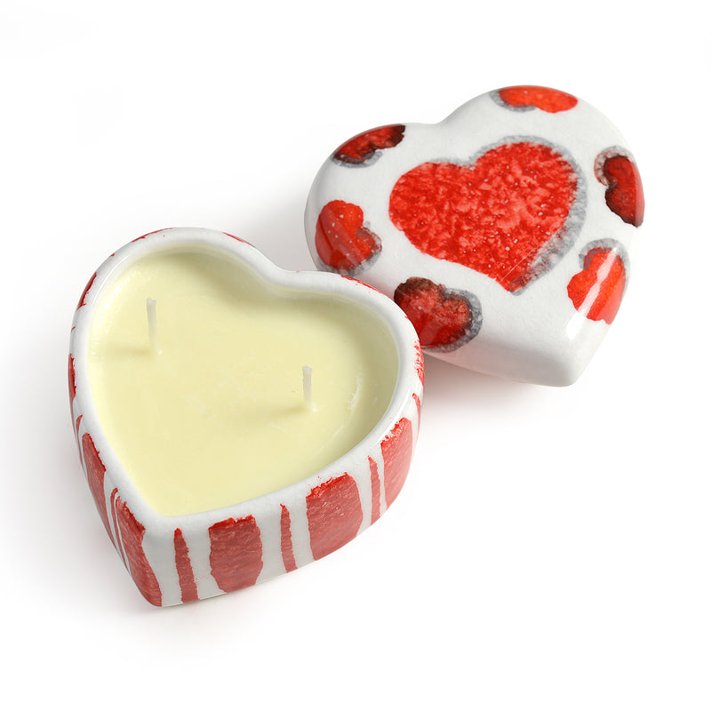Amore Small Striped Heart Candle