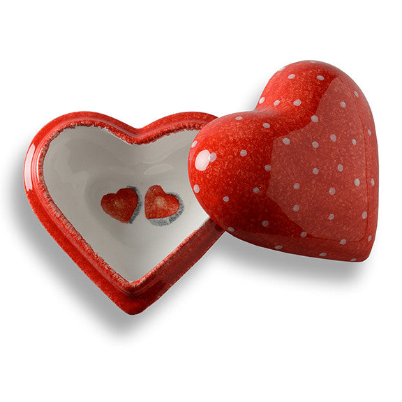 Amore Large Heart Box with Polka Dots
