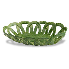 Intrecci Green Oval Basket
