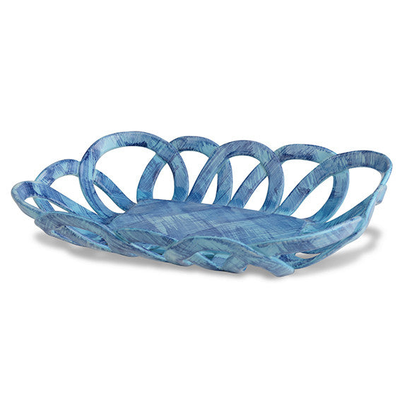 Intrecci Blue Rectangular Basket