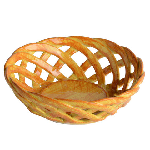 Intrecci Yellow Round Bon Bon Basket