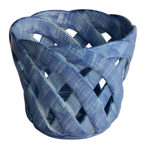 Intrecci Medium Blue Cachepot