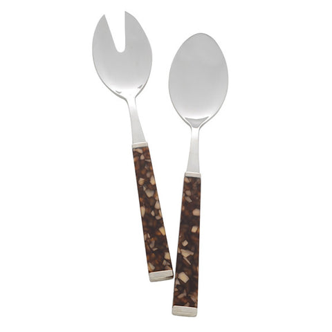Colonna Salad Serving Set in Tortoise