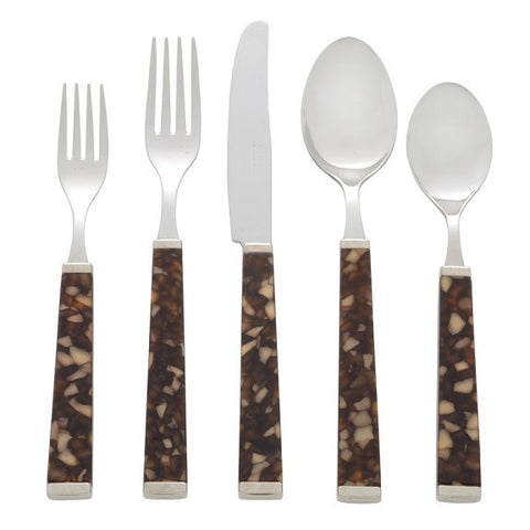 5 Piece Place Setting of Colonna in Tortoise
