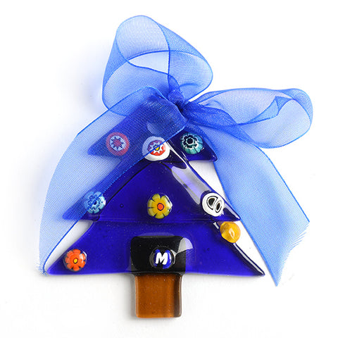 Murano Glass Blue Christmas Tree Ornament