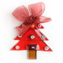 Murano Glass Red Christmas Tree Ornament