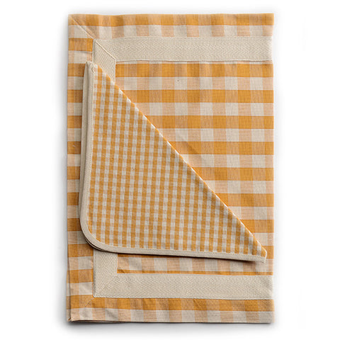 Biancheria Yellow and White Check Placemat and Napkin