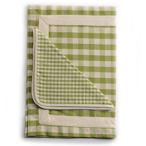 Biancheria Green and White Check Placemat and Napkin