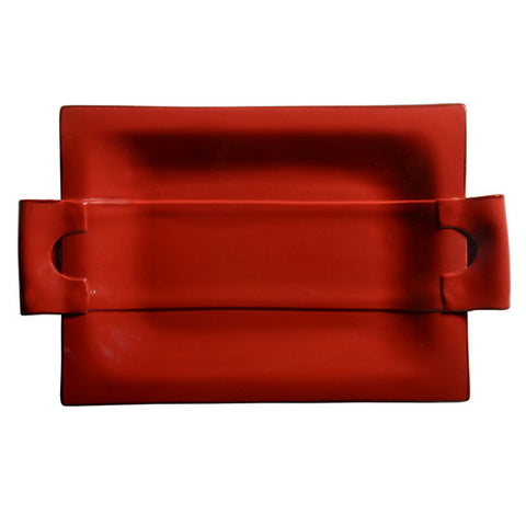 Rosso  Rectangular Tray with Handles