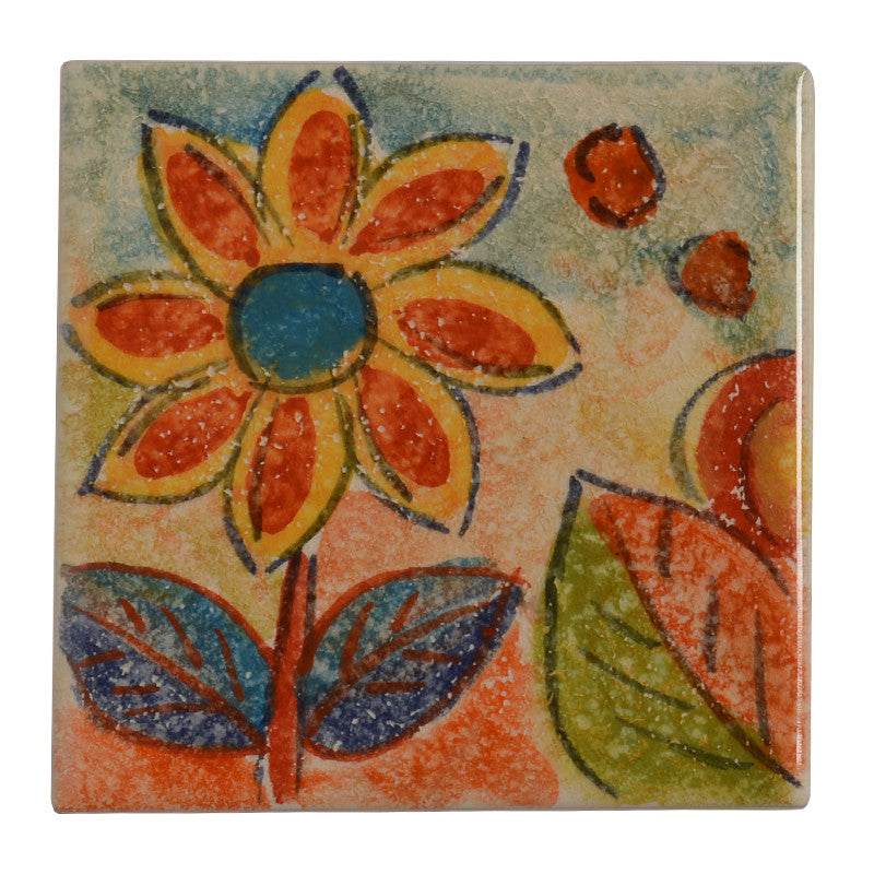 "Roma Amor 4"" by 4"" Flower Tile"