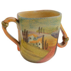 Mug with Two Handles and Slanted Top
