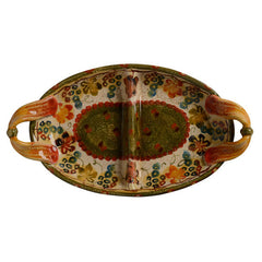 Small Oval Two Section Plate with Handles