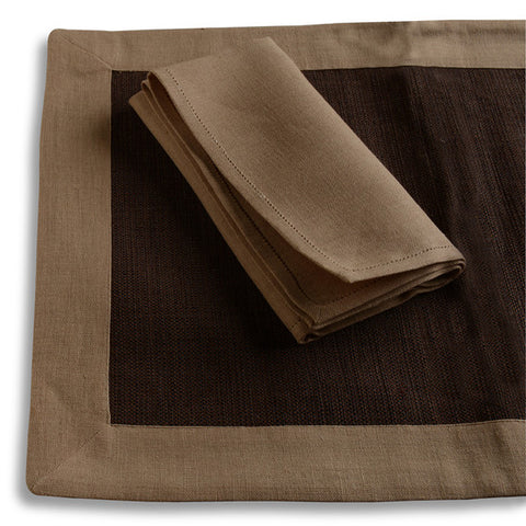 Biancheria Amber/Brown Placemat/Napkin